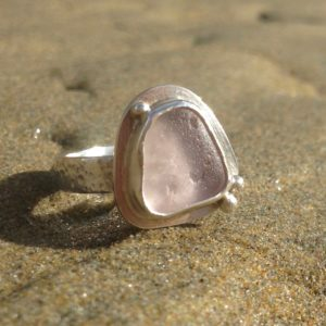 Light lavender Guernsey sea glass and sterling silver ring with additional detailing.
