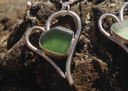 'Heart of Glass' signature pendant/necklace made from Guernsey sea glass and sterling silver.