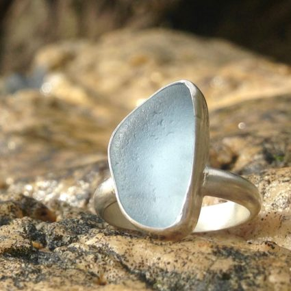 Bespoke pale blue Guernsey sea glass ring with sterling silver band.