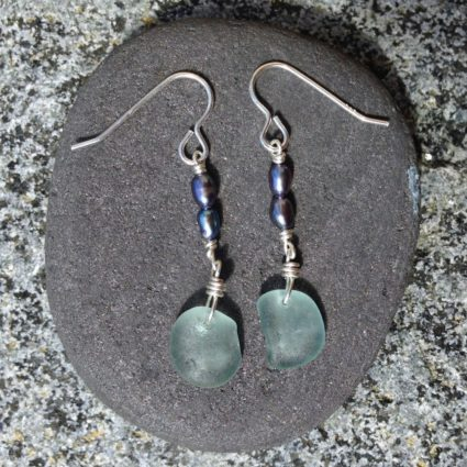Pale blue Guernsey sea glass drop earrings.