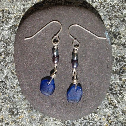 Cobalt blue Guernsey sea glass drop earrings.
