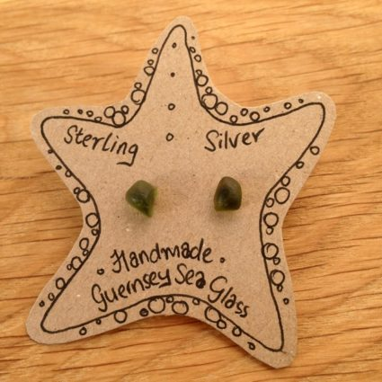 Olive green Guernsey sea glass earrings with sterling silver studs.