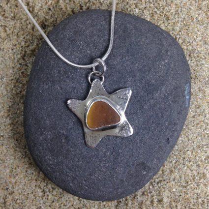 Silver Starfish and Sea Glass