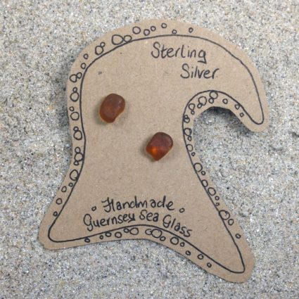 Brown Guernsey sea glass earrings with sterling silver studs.