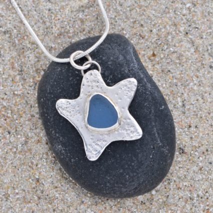Blue Seaglass and Sterling Silver Starfish