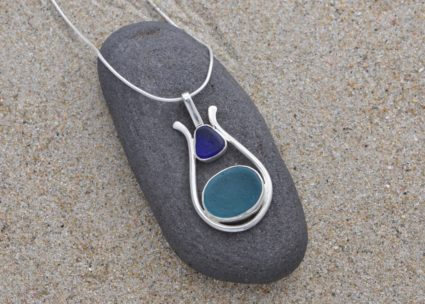 Cradle Rock Pendant: Cobalt and Pale Blue