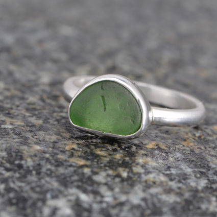Guernsey Sea Glass and Sterling Silver Ring