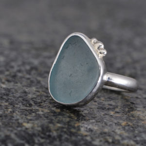 Light Blue Guernsey Sea Glass and Sterling Silver ring