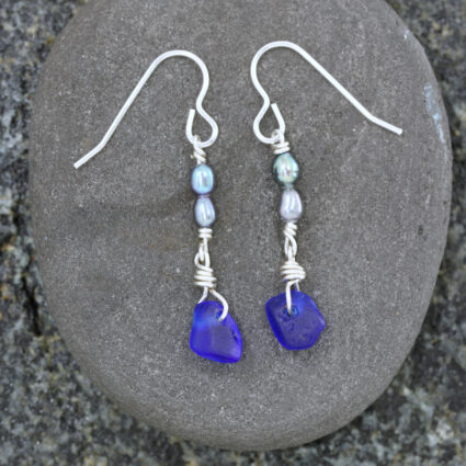 Guernsey sea glass and freshwater pearl drop earrings