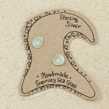 Guernsey sea glass earrings with sterling silver studs.